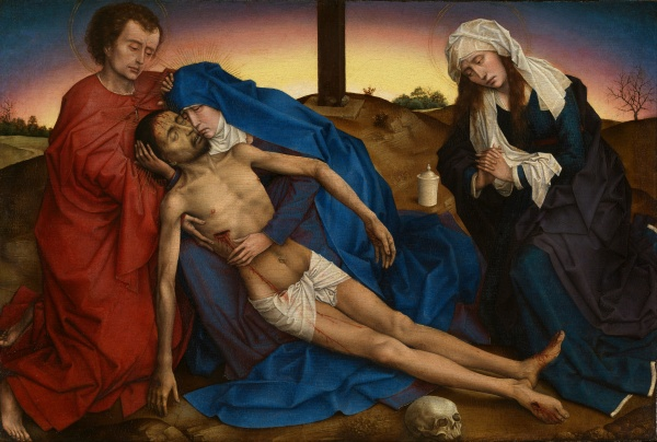 Pietà, 1436-1446, Rogier van der Weyden, Musées royaux des beaux-arts, Brussels, Belbium. Oil on panel: 12.8 x 18 inches. click on image to enlarge