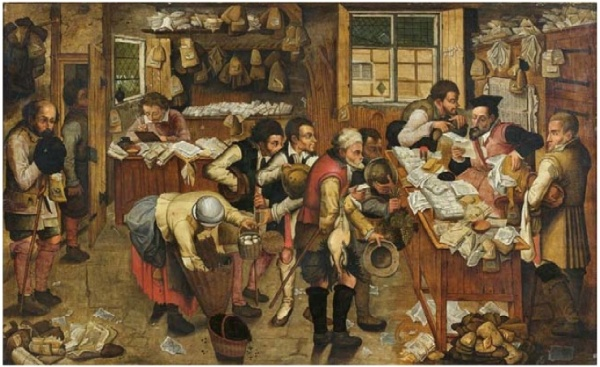 Lot 40. Pieter BRUEGHEL LE JEUNE (1564 - 1637/38) PAYMENT OF THE TITHES or THE VILLAGE LAWYER  oil on parquet panel 74 x 123cm, signed & dated 1615, Estimate: €300,000-400,000. This lot sold for €1,660,362.