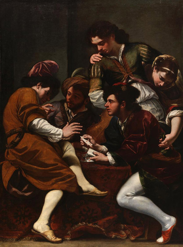 Giovanni Battista Boncori (Campli 1643 - Rome 1699) The Card Players Oil on canvas: 78 1/4 x 58 3/8 in. (198.8 x 148.3 cm)