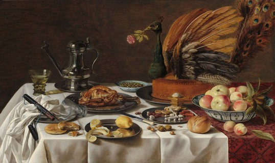 Pieter Claesz, Dutch, 1596/1597 – 1660 Still Life with Peacock Pie, 1627 oil on panel. 77.5 x 128.9 cm National Gallery of Art, Washington, The Lee and Juliet Folger Fund
