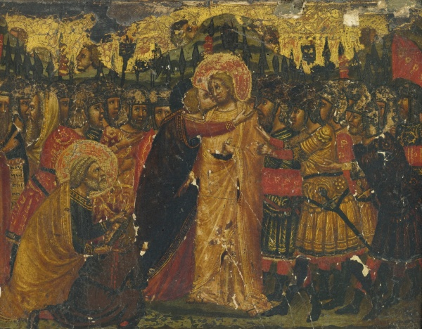 Lot 1. MASTER OF THE SAN BARTOLOMEO TRIPTYCH ACTIVE IN URBINO AT THE END OF THE 14TH CENTURY AND EARLY 15TH CENTURY THE BETRAYAL OF CHRIST tempera on panel, gold ground 7 1/2  by 9 1/2  in.; 19 by 24 cm. Estimate: $70,000-90,000. (click on image to enlarge)