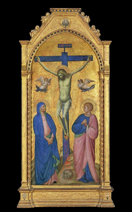 Lot 108. Giovanni da Bologna (documented in Venice and Treviso 1377-1389)  The Crucifixion with the Virgin Mary and Saint John the Evangelist  tempera and gold on panel, arched top, in an engaged frame  65 1/8 x 30 3/8 in. (165.4 x 77.2 cm.) Estimate: $500,000-700,000.