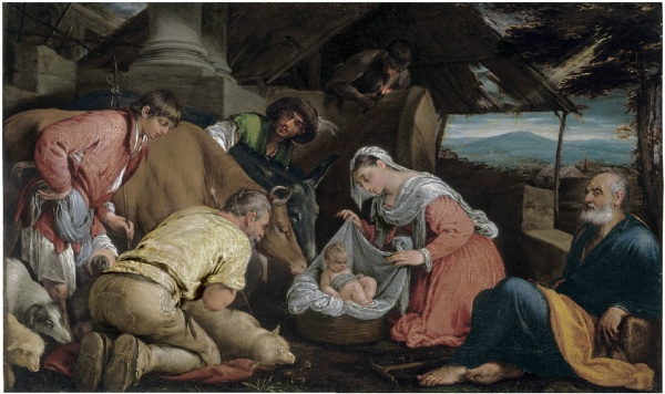 Lot 116. Jacopo da Ponte, called Jacopo Bassano (Bassano del Grappa c. 1510-1592) The Adoration of the Shepherds  signed 'iac.s/bassa [...]' (lower right)  oil on canvas  28 3/8 x 44 1/8 in. (72 x 112 cm.)  Estimate: $8-12 million.