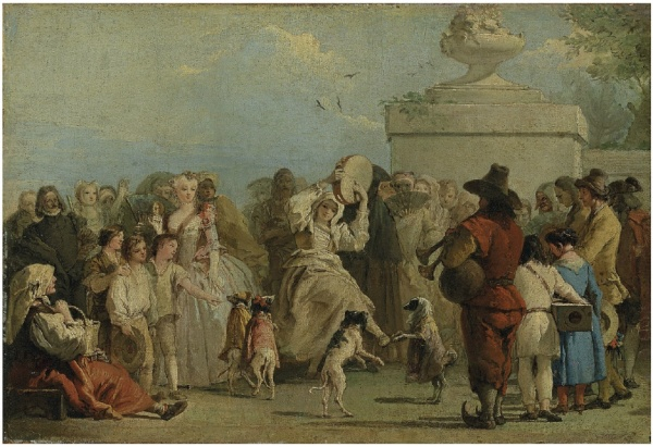 Lot 12. Giandomenico Tiepolo (Venice 1727-1804)  I Cani Sapienti (The Dancing Dogs)  oil on canvas  13 x 19 in. (33 x 48.5 cm.) Estimate: $2-3 million.