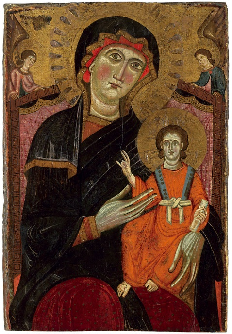 Lot 121. Circle of the Master of the Crucifix no. 434 (active Tuscany, c.1230-1250) The Madonna and Child Enthroned with two angels  tempera and gold on panel  40 7/8 x 27¾ in. (103.9 x 70.5 cm.)  Estimate: $300,000-500,000.