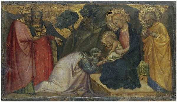 Lot 124. Spinello di Luca Spinelli, called Spinello Aretino (Arezzo 1350/2-1410)  The Adoration of the Magi  tempera and gold on panel, unframed  8 5/8 x 15 in. (21.9 x 38.1 cm.)  Estimate: $600,000-800,000. (click on image to enlarge)