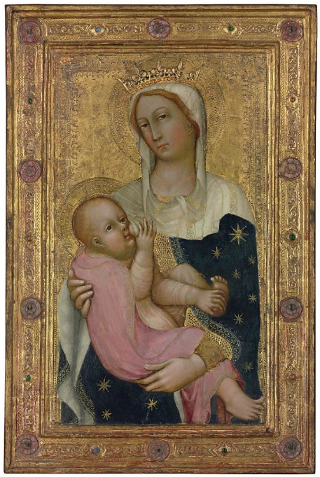 Lot 125. Paolo di Giovanni Fei (San Quirico, Castelvecchio, or Siena c. 1340/5-c. 1411) The Madonna Nursing the Christ child  tempera and gold on panel, in its original engaged frame  30½ x 20¼ in. (77.5 x 51.4 cm.)  Estimate: $600,000-800,000.