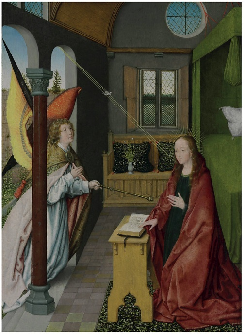 Lot 156. Jan Provost (Bergen-Mons, Henegouwen c. 1465-1529 Bruges)  The Annunciation  oil on panel  20 3/8 x 15 5/8 in. (51.8 x 39.7 cm.)  Estimate: $2-4 million.