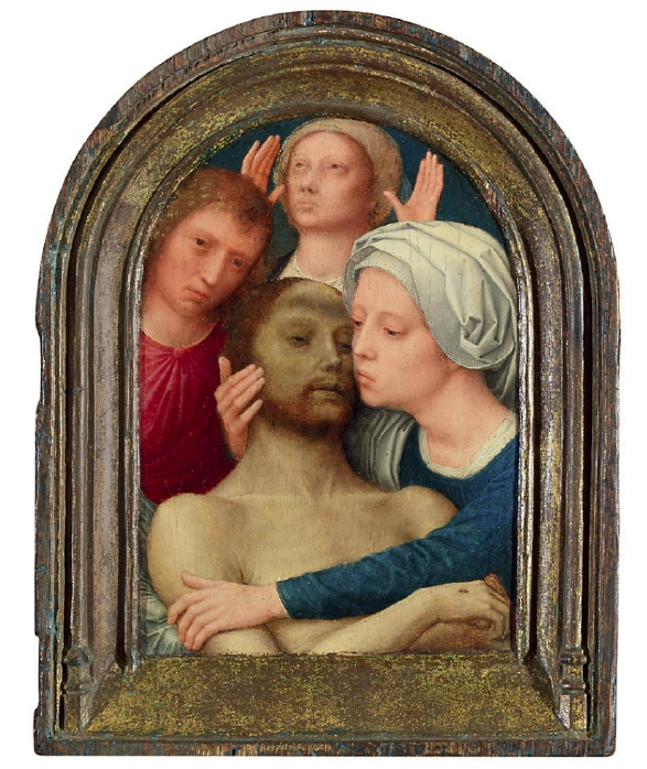 Lot 158. Gerard David (Oudewater c. 1460-1523 Bruges)  The Lamentation  oil on panel, in the original frame  9 3/8 x 7 3/8 in. (23.9 x 18.6 cm.) Estimate: $1.5-2.5 million.