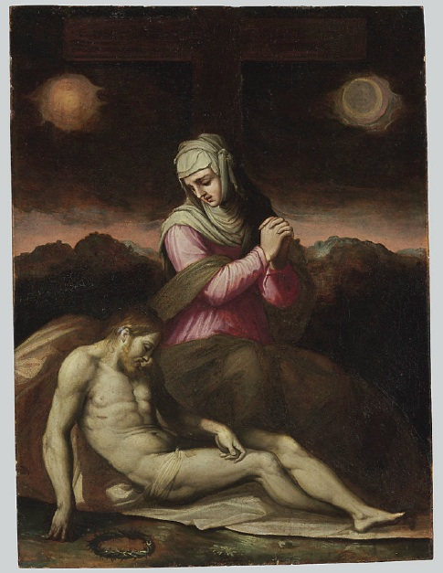 Lot 172. Giorgio Vasari (Arezzo 1511-1574 Florence)  The Pietà  oil on panel  22 5/8 x 17 in. (57.4 x 43.1 cm.) Estimate: $300,000-500,000.