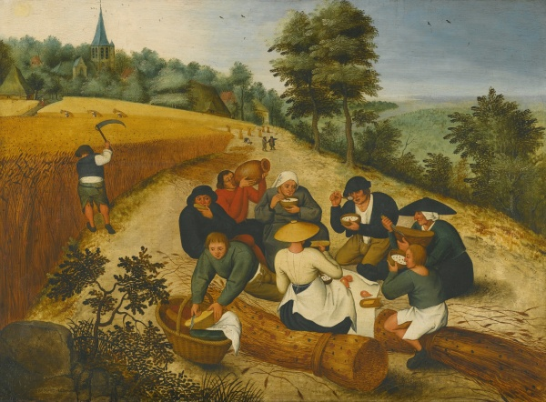 Lot 22. PIETER BRUEGHEL THE YOUNGER BRUSSELS 1564 - 1637/8 ANTWERP SUMMER: FIGURES EATING DURING THE SUMMER HARVEST signed and dated lower left: BRVEGHEL. 1600 oil on panel 23 3/8  by 31 5/8  in.; 59.7 by 80.4 cm. Estimate: $2.5-3.5 million.