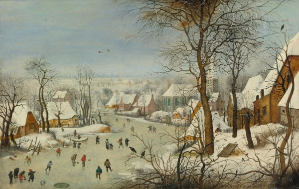 Lot 27. PIETER BRUEGHEL THE YOUNGER BRUSSELS 1564 - 1637/8 ANTWERP THE BIRD TRAP oil on panel 14 7/8  by 23 1/2  in.; 37.8 by 59.7 cm.  Estimate: $1.5-2.5 million. (click on image to enlarge)