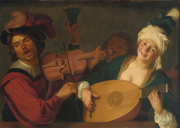Lot 34. GERRIT VAN HONTHORST UTRECHT 1590 - 1656 A MERRY GROUP BEHIND A BALUSTRADE WITH A VIOLIN AND A LUTE PLAYER signed lower center: GH (in ligature) onthorst. fec oil on canvas 39 1/4  by 54 1/2  in.; 99.4 by 138.5 cm. Estimate: $2-3 million.