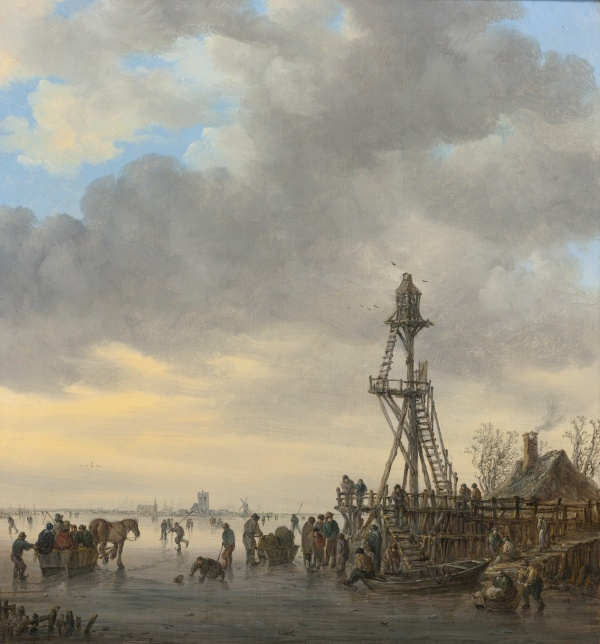 Lot 37. JAN JOSEFSZ. VAN GOYEN LEIDEN 1596 - 1656 THE HAGUE A WOODEN LANDING STAGE ON A FROZEN RIVER, CHURCHES AND A WINDMILL AT LEFT ON THE DISTANT SHORE signed in monogram and dated on the rowboat lower right: VG 1646 oil on panel 14 3/8  by 13 1/2  in.; 36.5 by 34.3 cm.  Estimate: $1-1.5 million.