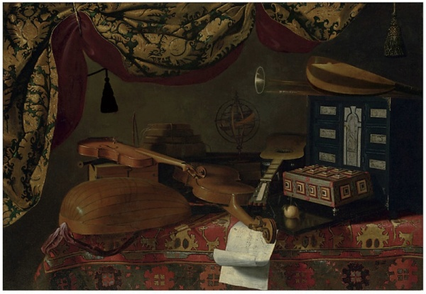 Lot 38. Evaristo Baschenis (Bergamo 1617-1677)  Still Life with musical instruments  oil on canvas  38½ x 55 7/8 in. (97.8 x 142 cm.)  Estimate: $1.2-1.6 million.
