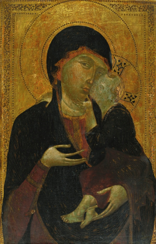 Lot 5. FLORENTINE PAINTER, ACTIVE IN THE AMBIT OF CIMABUE, CIRCA 1285 - 1290 MADONNA AND CHILD oil on panel 27 5/8  by 18 in.; 70.2 by 45.7 cm. Estimate: $600,000-800,000.