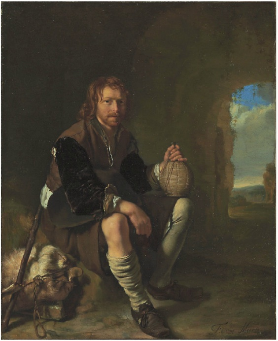 Lot 5. Frans van Mieris I (Leiden 1635-1681)  A traveler at rest  signed 'F. van Mieris' (lower right)  oil on copper  8½ x 7 in. (21.6 x 17.8 cm.)  Estimate: $1.5-2.5 million.