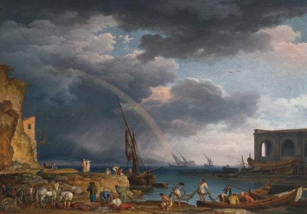 Lot 60. CLAUDE-JOSEPH VERNET AVIGNON 1714 - 1789 PARIS L'ARC EN CIEL: AN ITALIANATE COASTAL VIEW WITH A RAINBOW, FISHERMAN, AND PEASANTS AT AN INLET IN THE FOREGROUND, A SHIPWRIGHT'S YARD BEYOND signed, inscribed, and dated lower left: 'Joseph. Vernet. f/Romae 1749' (ae linked) oil on canvas 45 by 64 1/8 in.; 114.3 by 162.7 cm. Estimate: $1.8-2 million. (click on image to enlarge)