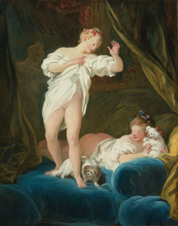 Lot 66. JEAN-HONORÉ FRAGONARD GRASSE 1732 - 1806 PARIS TWO GIRLS ON A BED PLAYING WITH THEIR DOGS oil on canvas 29 1/4  by 23 3/8  in.; 74.3 by 59.3 cm. Estimate: $6-8 million.