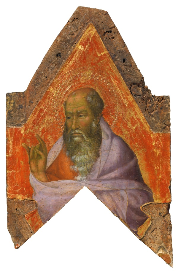 Lot 7. SIMONE MARTINI CIRCA 1284-1344 AVIGNON A BEARDED SAINT, PROBABLY A PROPHET tempera on panel, gold ground with a shaped top 14 1/8  by 8 1/2  in.; 36 by 21.5 cm. Estimate: $1.5-2 million.