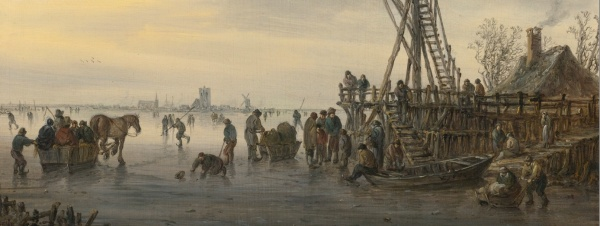 Lot 37. JAN JOSEFSZ. VAN GOYEN LEIDEN 1596 - 1656 THE HAGUE A WOODEN LANDING STAGE ON A FROZEN RIVER, CHURCHES AND A WINDMILL AT LEFT ON THE DISTANT SHORE (detail) signed in monogram and dated on the rowboat lower right: VG 1646 oil on panel 14 3/8 by 13 1/2 in.; 36.5 by 34.3 cm. Estimate: $1-1.5 million. (click on image to enlarge0