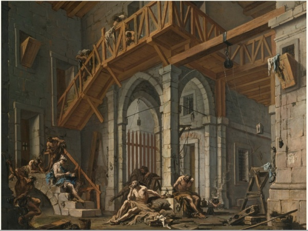 ALESSANDRO MAGNASCO GENOA 1667 - 1749 JOSEPH INTERPRETS THE DREAMS OF THE PHARAOH'S SERVANTS WHILST IN JAIL oil on canvas 52  4/5  by 69 in.; 134 by 177 cm.