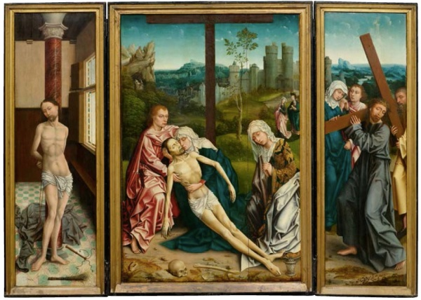 Lot 3009. 16th Century follower of ROGIER VAN DER WEYDEN (1398/1400 Tournai - Brüssel 1464) Triptych: central panel with Lamentation of Christ,  Wing inside with scenes of the Passion  Christ, wing outside the  Proclamation.  Oil on wood. Middle panel 108 x 72 cm,  Wing of each 110.5 x 33 cm. Estimate: CHF 300,000-350,000 (€250,000-291,670) click on image to enlarge