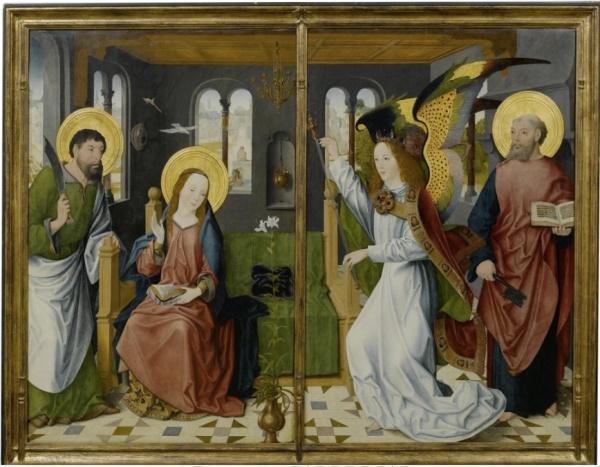 Lot 3014. MASTER OF THE HOLY KINSHIP (active in Cologne ca. 1475-1510) Two altarpiece wings: The Annunciation, with Saints Bartholomew and Peter. Ca. 1490. Oil on oak panels: each 134 x 94 cm. Estimate: CHF 300,000-500,000 (€250,000-416,670) click on image to enlarge