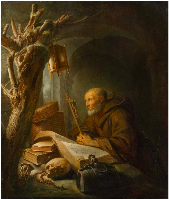 Lot 3038. GERRIT DOU (1613 Leiden before 1675) Hermit Praying. ca. 1670. Oil on wood. Signed on the book lower left: GDOV. 34.5 x 29 cm. Estimate: CHF 400,000-500,000  (€333,330-416,670)