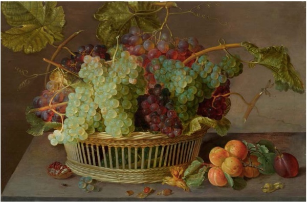 Lot 3048. ISAAC SOREAU  (1604 Hanau am Main 1645)  Fruit Still Life with Grapes in a  Wicker basket and apricots on a table top.  Oil on wood. 48.3 x 72.3 cm.  Estimate: CHF 140000-180000 (€116.670-150.000) click on image to enlarge