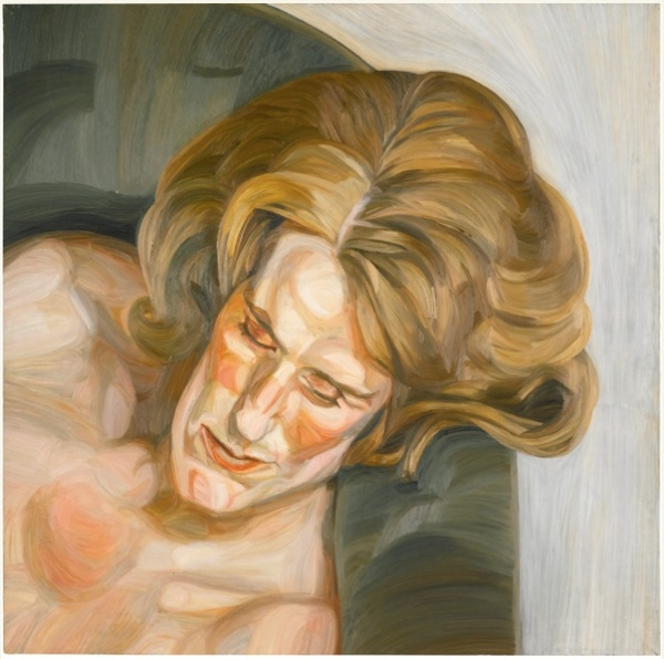 Lot 15. 1922-2011 HEAD ON A GREEN SOFA oil on canvas 91.5 by 91.5cm.; 36 by 36in. Executed in 1960-61. Estimate: £2.5-3.5 million ($4,100,250 — 5,740,350).