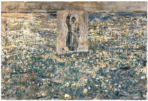Lot 20. ANSELM KIEFER B.1945 LASST TAUSEND BLUMEN BLÜHEN titled; signed on the reverse mixed media on canvas 190 by 280cm.; 74 3/4 by 110 1/4 in. Executed in 1998. Estimate: £600,000-800,000 ($984,060 — 1,312,080).