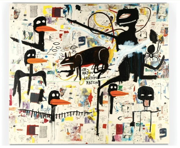 Lot 29. JEAN-MICHEL BASQUIAT 1960 - 1988 TENOR signed, titled and dated 1985 on the reverse acrylic, oilstick and paper collage on canvas 254 by 289.5cm.; 100 by 114in. Estimate: £3.8-4.8 million ($6,232,380 — 7,872,480).