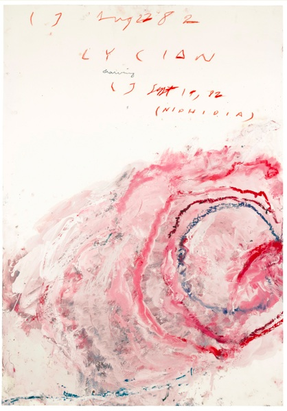 Lot 49. CY TWOMBLY 1928 - 2011 LYCIAN DRAWING (NIPHIDIA) signed with the artist's initials twice, titled and dated Aug 22 82 and Sept 19 82  oil, crayon and pencil on Fabriano paper 100 by 70cm.; 39 3/8 by 27 5/8 in. Estimate: £1-1.2 million ($1,640,100 — 1,968,120).