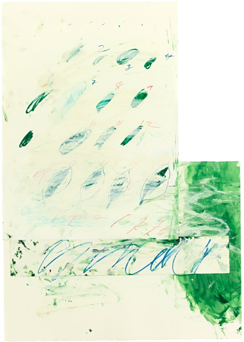 Lot 52. CY TWOMBLY 1928-2011 IDILLI signed with the artist's initials and dated 76 oil, watercolour and crayon on three sheets of Fabriano paper sheet: 116.8 by 83.8cm.; 46 by 33in. Estimate: £400,000-600,000 ($656,040 — 984,060).