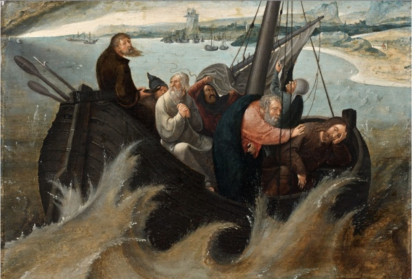 Lot 103. Pays-Bas, début du XVIe siècle  Le Christ et les apôtres dans la tempête  Huile sur panneau de chêne, une planche  'CHRIST AND THE APOSTLES IN THE STORM', OIL ON PANEL, NETHERLANDS, BEGINNING OF THE 16TH CENTURY  h: 24,50 w: 36 cm  Estimate: €20,000-30,000. Click on image to enlarge.