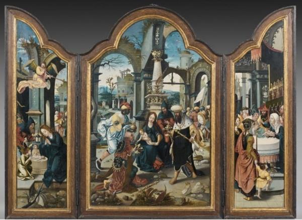 Lot 105. Le Maître de 1518 Actif à Anvers au XVIe siècle  L'Adoration des Mages, entre La Nativité et La Présentation au temple  Trois huiles sur panneaux de forme chantournée formant triptyque  Panneau central : 101 x 70 cm (39,80 x 27,60 in.)  Volets latéraux : 101 x 35 cm (39,80 x 13,80 in.)  Dimensions totales du triptyque ouvert : 101 x 139,50 cm  (39,80 x 54,90 in.)  'THE NATIVITY', 'THE ADORATION OF THE MAGI' AND 'THE PRESENTATION IN THE TEMPLE', OIL ON PANEL, A TRIPTYCH, BY THE MASTER OF 1518  Estimate: €60,000-80,000. Click on image to enlarge.