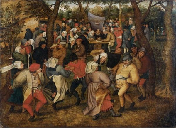 Lot 106. Pieter Brueghel le Jeune Bruxelles, vers 1564 - Anvers, vers 1637/38  La danse de noces en plein air  Huile sur panneau, deux planches, parqueté  Signé et daté 'BREVGHEL. 1624.' en bas à gauche  (Fente horizontale en partie supérieure, signature partiellement effacée)  'THE WEDDING DANCE', OIL ON PANEL, CRADLED, SIGNED AND DATED, BY P. BRUEGHEL THE YOUNGER  h: 37,50 w: 52 cm  Estimate: €800,000-1,200,000. Click on image to enlarge.