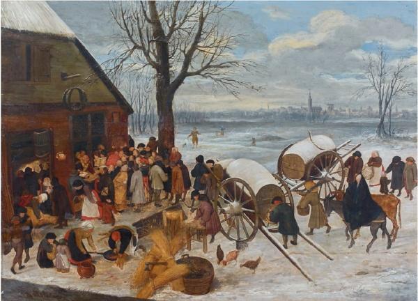 Pieter BRUEGHEL II (Anvers 1564-1637/38) et Joos de MOMPER II (Anvers 1564-1635) Le dénombrement de Bethléem Panneau parqueté 88,5 x 121,5 cm Estimate: €500,000-600,000. Click on image to enlarge.