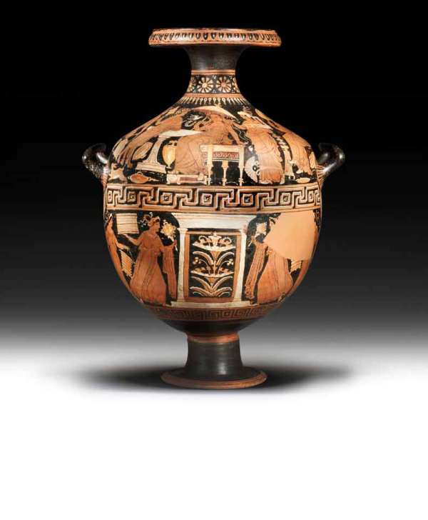 Lot 19. A Greek red-figure hydria  Apulia, attributed to the Baltimore Painter, circa 320-310 B.C.  Decorated with added white, ochre and crimson slip, the upper frieze depicting a wedding scene, the bride seated on a chair beneath a parasol, unveiling herself to the groom standing in front, leaning on a basin, flanked by three attendants, the lower frieze with a naiskos flanked by female figures carrying caskets and situlae, 26¼in (66.7cm) high FOOTNOTES Provenance: T.L. Collection, Berne, Switzerland.  V.L. Collection, Nyon, Switzerland, acquired in the 1990s. Estimate: £20,000-30,000 ($33,000-50,000).
