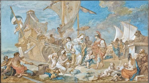 Lot 41. Charles-Joseph Natoire Nîmes, 1700 - Castel Gandolfo, 1777  L'arrivée de Cléopâtre à Tarse  Aquarelle gouachée sur trait de crayon  Signée et datée 'C.H NATOIRE / 1774' en bas à droite  (Restaurations, traces d'humidité en partie supérieure)  'CLEOPATRA ARRIVING IN TARSUS', WATERCOLOUR AND GOUACHE, SIGNED AND DATED, BY C.-J. NATOIRE  h: 37 w: 64,50 cm  Estimate: €60,000-80,000. Click on image to enlarge.