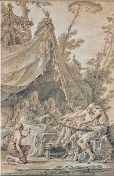 Lot 42. Noël Hallé Paris, 1711 - 1781  Scilurus, roi des Scythes, faisant rassembler ses enfants  Crayon noir, sanguine et rehauts de blancs  'SCILURUS', BLACK AND RED CHALK, WHITE HIGHLIGHTS, BY N. HALLE  h: 87 w: 57 cm. Estimate: €30,000-40,000.