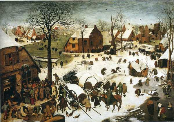 Pieter Bruegel the Elder, 1566 THe Census at Bethlehem Oil on panel: 116 cm × 164.5 cm (46 in × 64.8 in) Royal Museums of Fine Arts of Belgium, Brussels Click on image to enlarge.