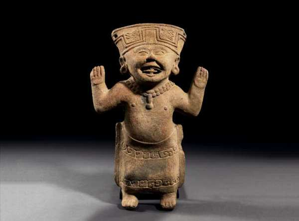 "Lot 121. STATUE OF TYPE ""SMILEY""  Culture Veracruz, Mexico  Classic, 450-650 AD H. 40 cm - L. 25,5 cm Estimate: 8,000-10,000. Provenance: French Private Collection."