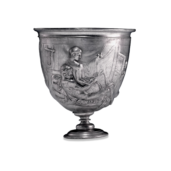 The Warren Cup, Bittir (ancient Bethther), near Jerusalem, Roman, AD 5 – 15 Height: 11 cm Width: 9.9 cm (max.) Depth: 11 cm Room 70: Roman Empire  Acquired with the assistance of The Art Fund, the British Museum Friends, the Caryatid Fund and the Heritage Lottery Fund.