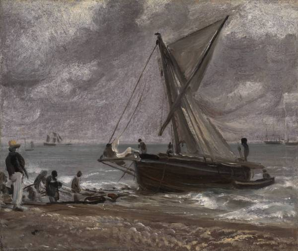 Beaching a Boat, Brighton 1824 John Constable 1776-1837  Oil paint on paper on canvas: 248 x 294 mm  Clink on image to enlarge