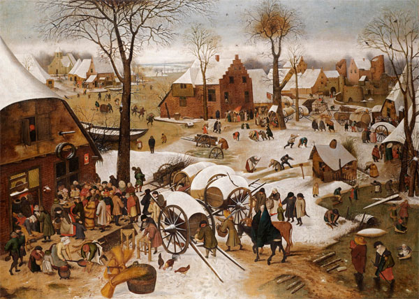 Pieter Brueghel the Younger The Census at Bethlehem. Featured at Johnny van Haeften's Frieze Masters Booth, London, October 2013. Asking price £6 million.