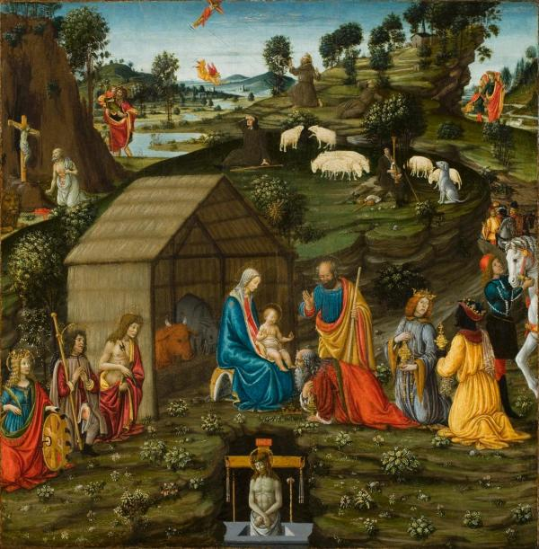 Francesco Botticini, Italian, 1446-1497, Adoration of the Magi in a Landscape Tempera on wood: 31 1/2 x 31 1/2 in. (80 x 80 cm). Click on image to enlarge.