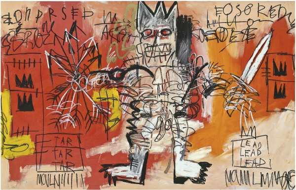 Lot 36. Jean-Michel Basquiat (1960-1988) Untitled acrylic and oil stick on canvas: 68 x 103 in. (172.7 x 261.6 cm.), Executed in 1981 Estimate: $20-30 million. Click on image to enlarge.