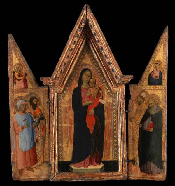 Attributed to Naddo Ceccarelli, Italian, active ca. 1347, Madonna and Child Flanked by Four Saints Tempera and Gold leaf on Panel: Overall: 22 1/2 x 20 1/2 in. Click on image to enlarge.